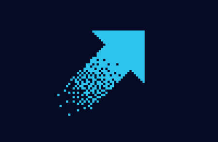 Pixel blue arrow Isolated element on black background Gradient design Vector illustration