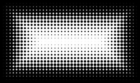 Gradient frame with dots Halftone dots design Light effect background Vector isolated object for website, card, poster