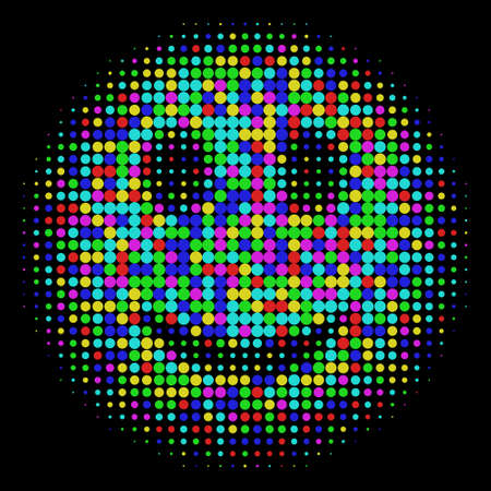 Color smiley face in halftone dots style Bright t-shirt graphics design on black background Vector isolated object for websites, icons, user picture, avatars, posters, t shirt, stickers, tattoo or other
