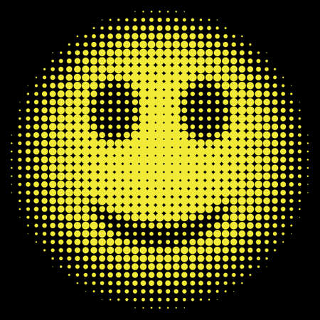 Smiley face in halftone dots style Vector isolated object for websites, design, icons, user picture, avatars, posters, t shirt, stickers, tatoo or other