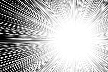 Comic book black and white radial lines background Sun ray or star burst element Zoom effect Rectangle fight stamp for card Manga or anime speed graphic texture Superhero frame Explosion vector illustration