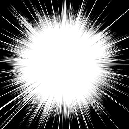 Comic book black and white radial lines background Sun ray or star burst element Zoom effect Square fight stamp for card Manga or anime speed graphic texture Superhero frame Explosion vector illustration Ilustración de vector