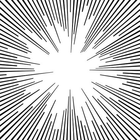 Comic book black and white radial lines background Sun ray or star burst element Square fight stamp Manga or anime speed graphic texture Superhero frame Explosion vector illustration