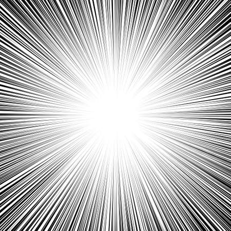 Comic book black and white radial lines background Sun ray or star burst element Zoom effect Square fight stamp for card Manga or anime speed graphic texture Superhero frame Explosion vector illustration