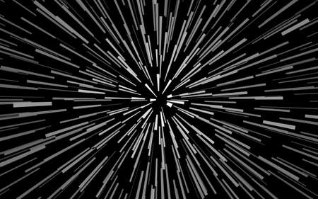 Radial white concentric particles on black background Sun ray or star burst element Zoom effect Rectangle fight stamp for card Space light trail Superhero frame Explosion vector illustration