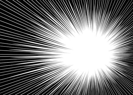 Comic radial lines background Sun rays or star burst element Zoom effect Rectangle fight stamp for card Manga or anime speed graphic texture Superhero frame Explosion vector illustration