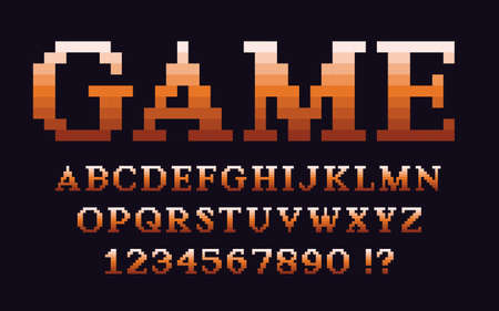 Pixel classic serif font with gradient Video computer game design 8 bit retro letters and numbers 矢量图像