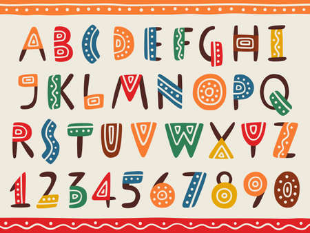 Tribal ethnic bright alphabet and number Hand drawn graphic font in african or indian style Primitive simple stylized design Ilustración de vector