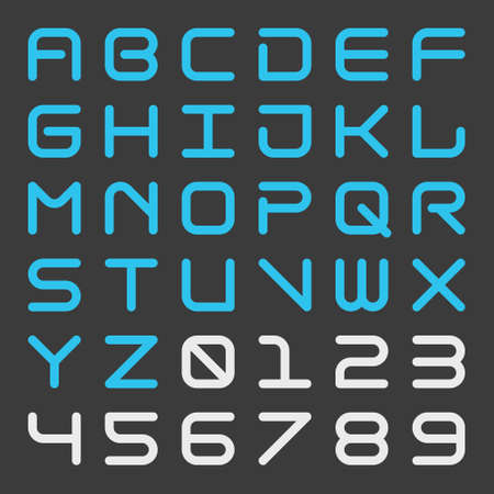 Square futuristic alphabet and number with rounded corner Bold isolated font Techno style