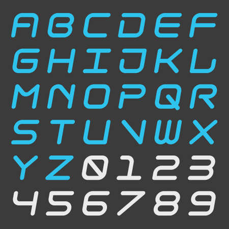 Italic dynamic alphabet and number with rounded corner Skew square futuristic isolated font Techno style