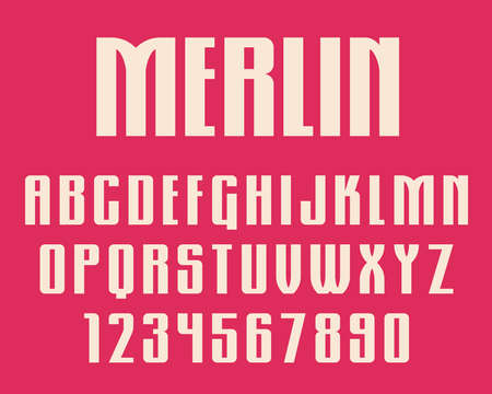Geometric gothic font Retro design letters and numbers