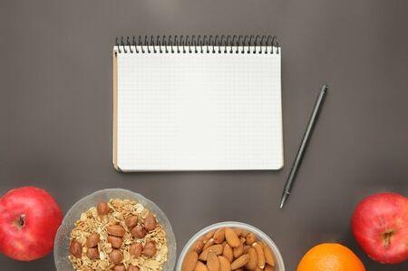 Count calories of healthy food snecks: oatmeal, almonds, apple, orange.