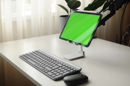 Workplace tablet with keyboard and mouse. Minimalism interior with homeplants