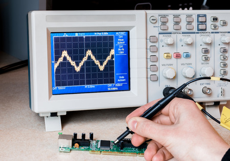 oscillograph: Electronic circuit testing. Electronic laboratory. Science lab. Repair service.