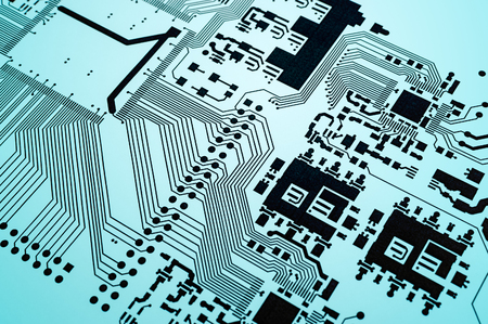 circuitry: Electronic circuit board printed design project Stock Photo