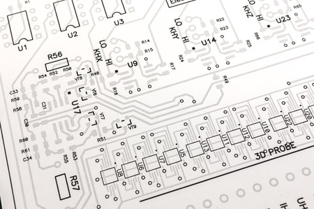 printed: Electronic circuit board printed design project Stock Photo