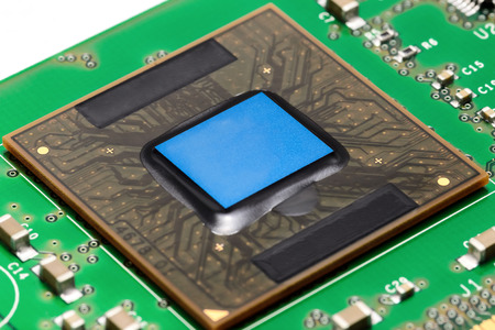 printed: Old processor on printed circuit board Stock Photo