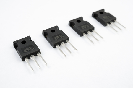 stripe: Transistors stripe isolated on white Stock Photo