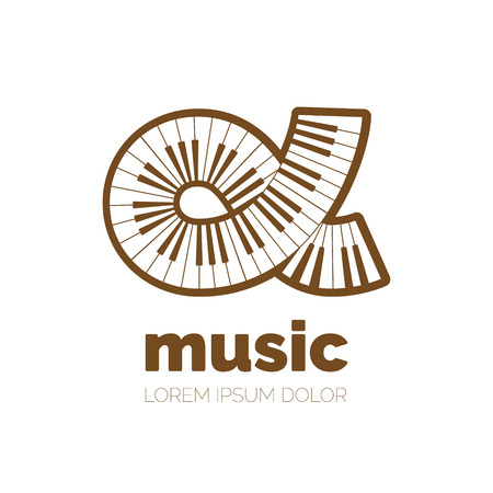 Creative Piano Keyboard Vector Logo Design Vector Logotype Symbols