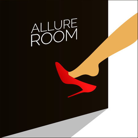 Woman in red shoes vector illustration. Alluring scene