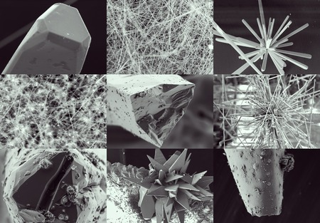 whisker: Nanotechnology collage. Crystal and whisker in microscope. Crystallization or solidification process view through the electron microscope with multiple increase in zoom in Stock Photo