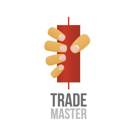 segurar: Ilustração do vetor do mercado de valores de acção. Negociação no mercado Forex. Mão segura uma vela