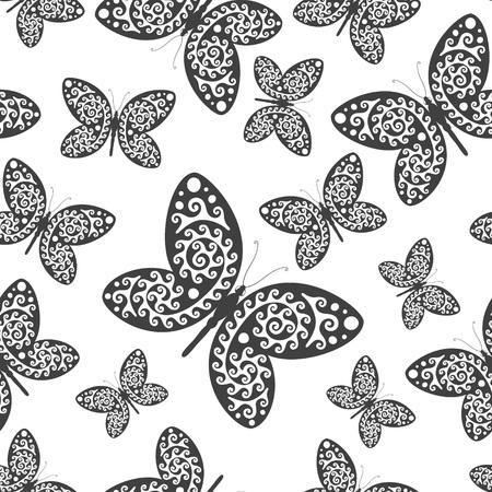 Seamless noir et blanc avec des papillons. Vector illustration Vecteurs