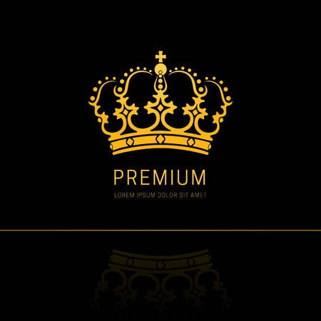 Vintage Crown Abstract Logo Design King And Queen Royal Symbol