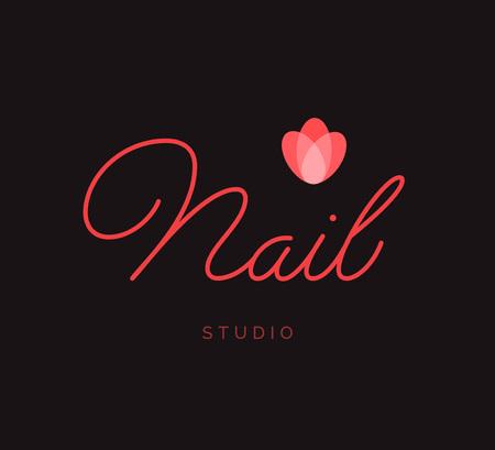 Nail Studio vector Logo Lettering. Aangepaste handgemaakte kalligrafie Logo