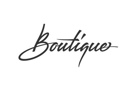 Butikowy projekt logo. Wektor znak napis. Kaligrafia logotypu