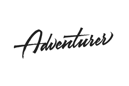 Adventurer vector inscription. Lettering with paint brush texture. Hand drawn typography