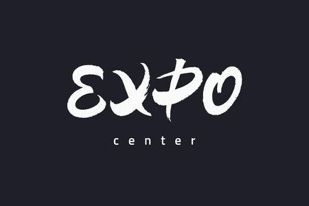 Expo text lettering inscription with brush texture.
