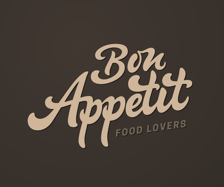 Bon Appetit vector text, Handmade lettering in freehand style. Illustration