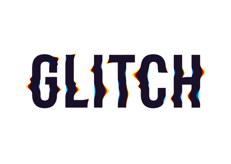 Glitch text effect. Type with chromatic aberration and distortion