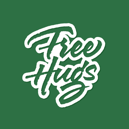 Free Hugs vector lettering. Text with paint brush texture. Hand drawn typography