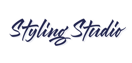 Styling Studio vector lettering. Handwritten text label. Freehand typography design
