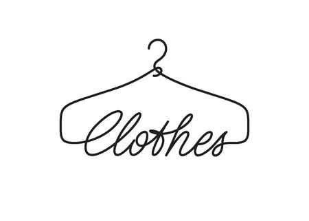 Design del logo di vestiti creativi. Segno di vettore con scritte e simbolo del gancio Logo