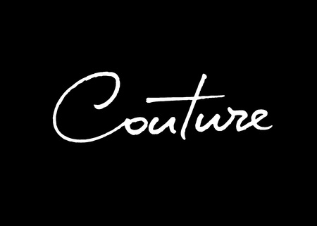 Couture vector lettering. Handwritten text label. Freehand typography design