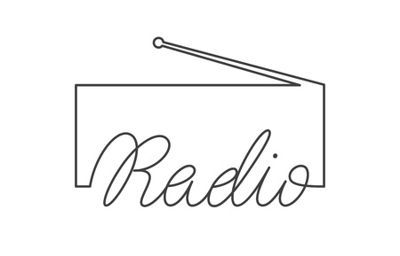 Radio logo emblem design. Vector sign with lettering and tuner symbol 向量圖像