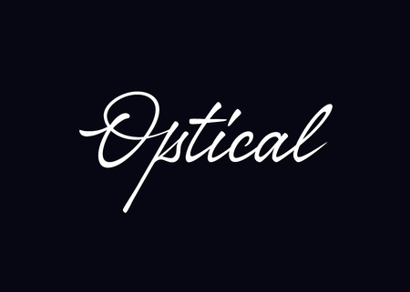 Optical vector lettering. Handwritten text label. Freehand typography design