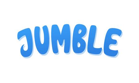 Jumble vector lettering. Handwritten text label. Freehand typography design