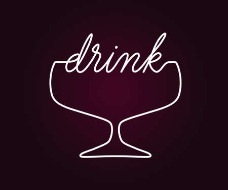 Drink logo emblem design. Vector sign with lettering and glass symbol