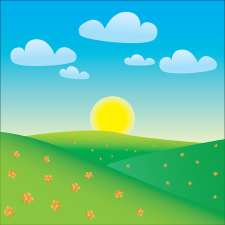 Cartoon happy landscape Stock Vector - 4727421