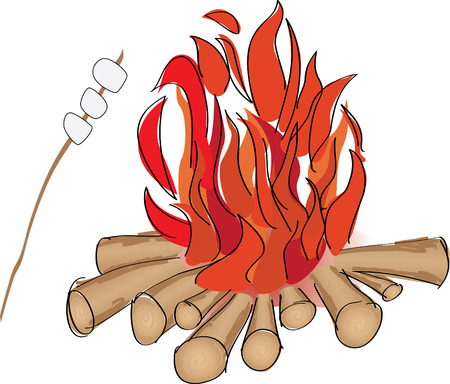 Campfire and marshmallow roaste on a stick Illustration