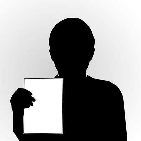 Person hold blank card
