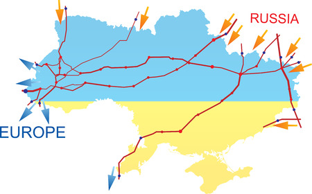 Ukraine map with gas pipes Vector