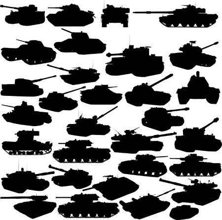 World war 2: Set of tanks silhouettes