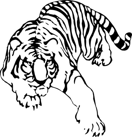 wildcats: The vector sketch of a tattoo of tiger