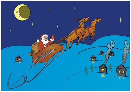 Santa Claus hurry to make gifts Vector