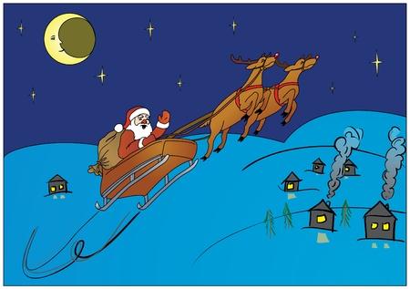 Santa Claus hurry to make gifts Illustration